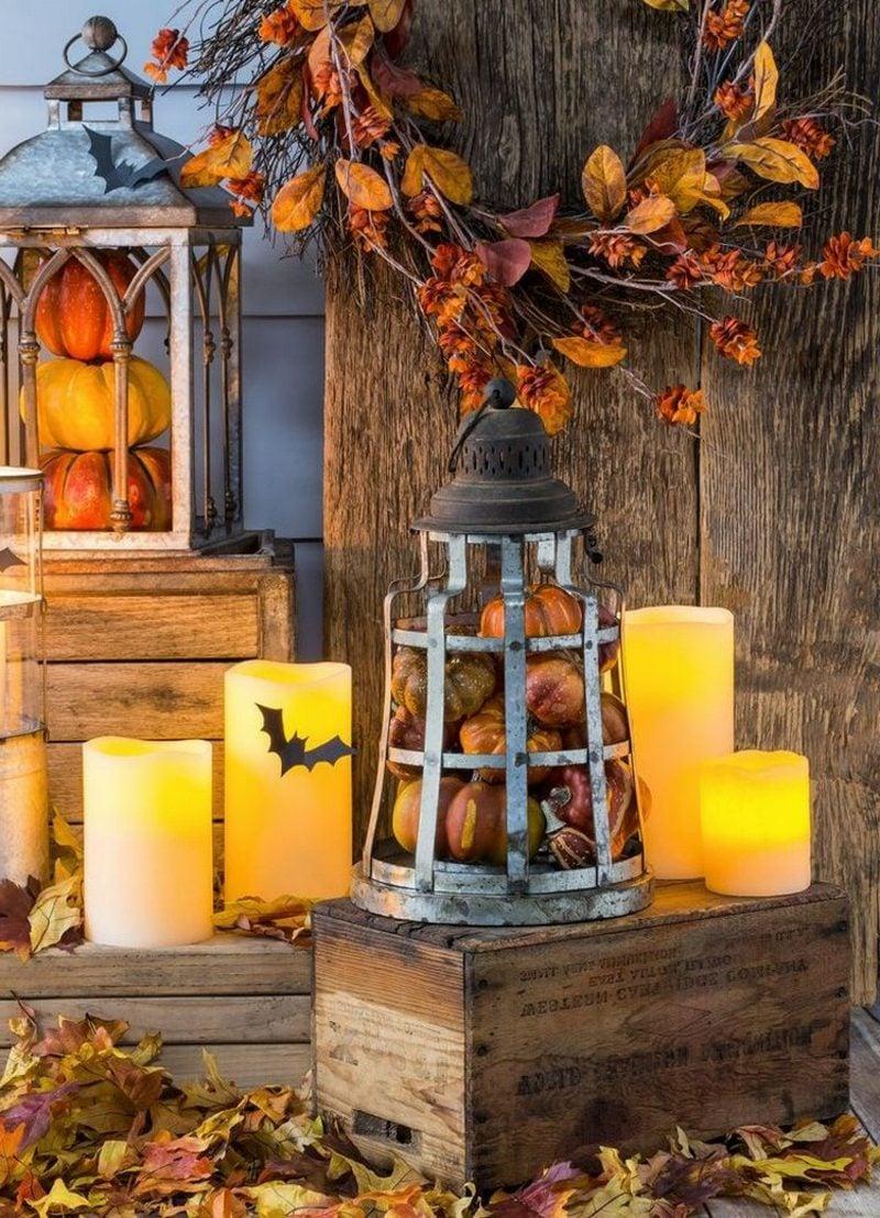 Halloween Deko selber machen für drauβen alte Laterne Kerzen Terrasse