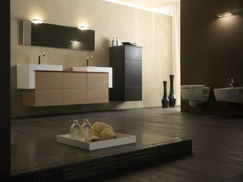 Waschbecken mit Unterschrank Holz praktisch schwebend