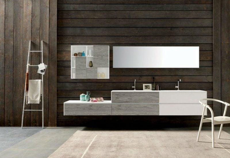 Waschbecken mit Unterschrank Holzfronten Ablagefläche