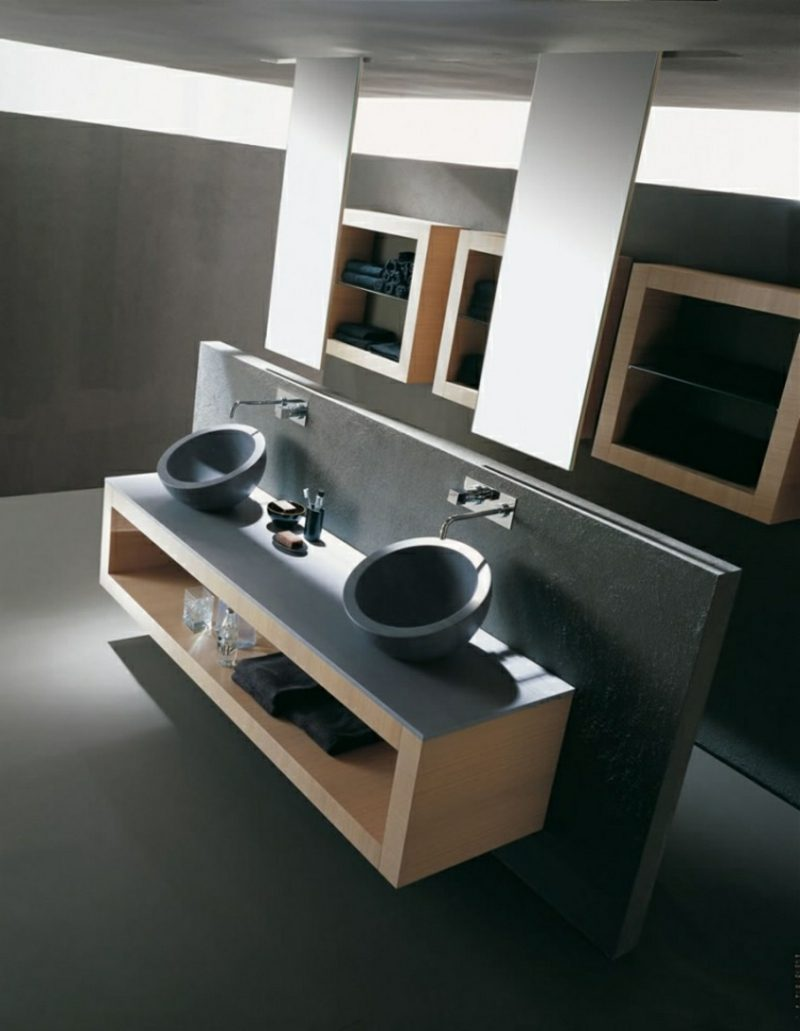 Waschbecken mit Unterschrank abgerundet Granit originell