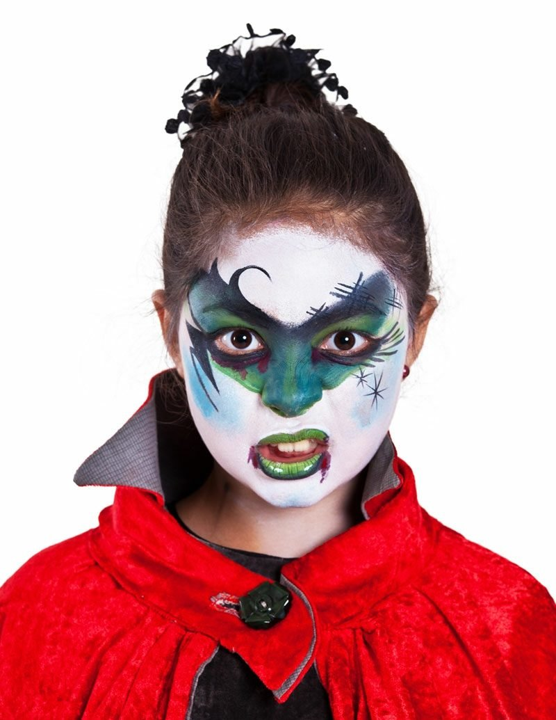 Halloween Schminken Kinder Hexe eindrucksvoll