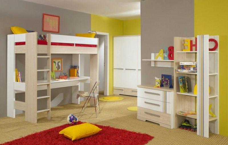 Hochbett mit Schreibtisch Kinderzimmer praktisch einrichten