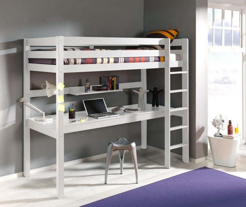 Hochbett mit Schreibtisch Holz modern Leiter