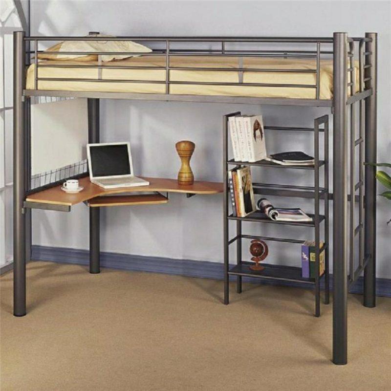 Hochbett mit Schreibtisch Bettgestell Metall