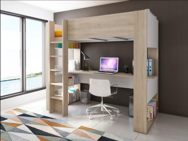 Hochbett mit Schreibtisch Holz moderner Look