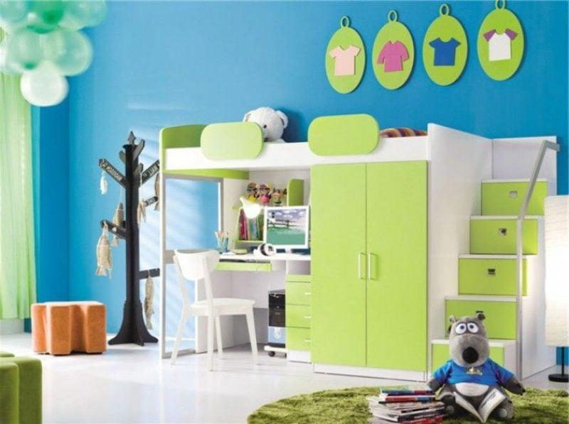 Hochbett mit Schreibtisch versteckte Schubladen grün