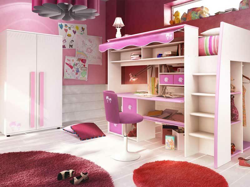 Hochbett mit Schreibtisch Mädchenzimmer