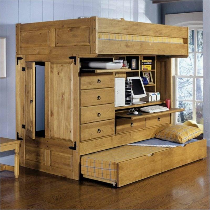 Hochbett mit Schreibtisch Massivholz zwei Matratzen Möglichkeit