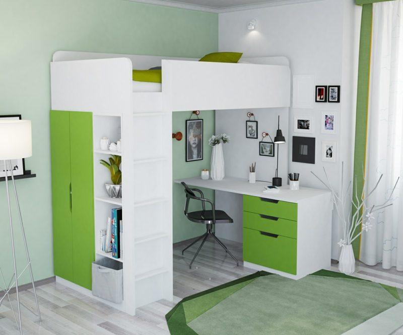 Hochbett mit Schreibtisch praktisch weiss grün