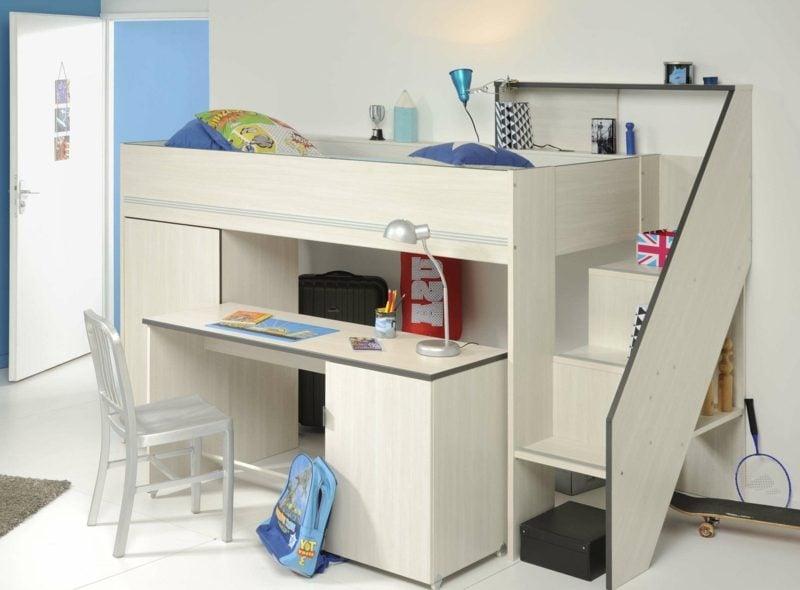 Hochbett mit Schreibtisch Holz Kinderzimmer klein