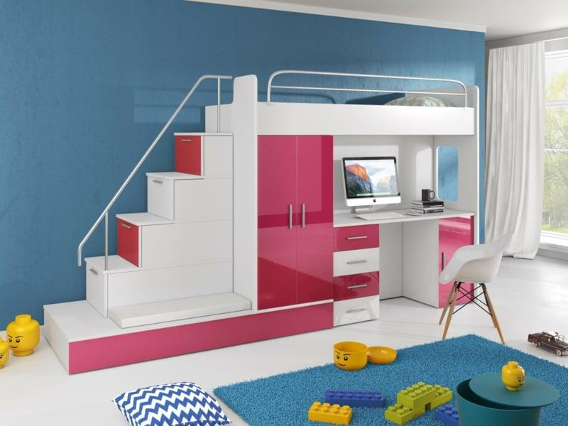 Hochbett mit Schreibtisch modernes Design Hochglanz