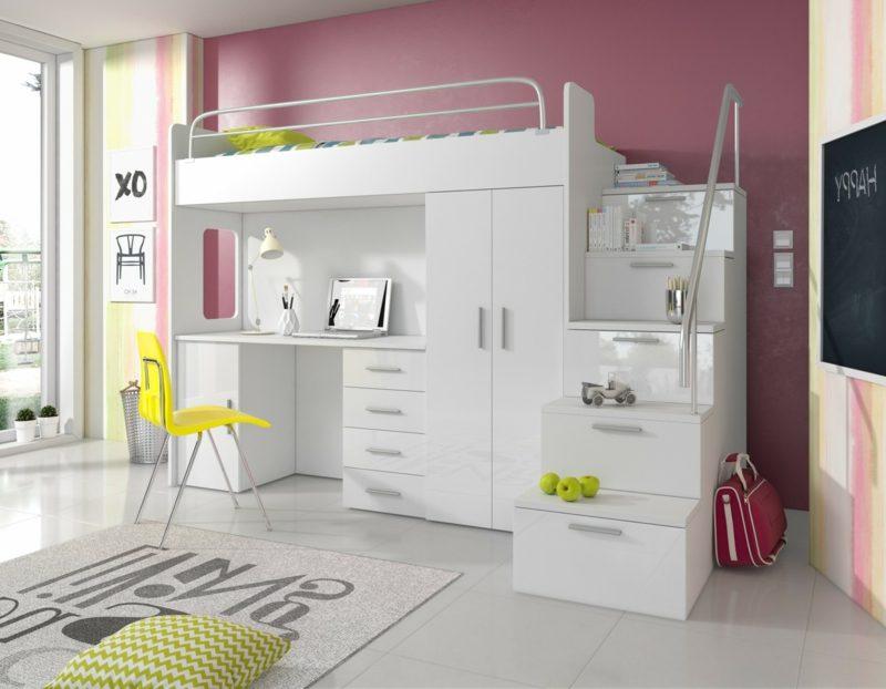 Hochbett mit Schreibtisch Kleiderschrank versteckte Schubladen