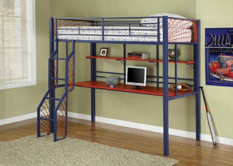 Hochbett mit Schreibtisch Metall gestell blau