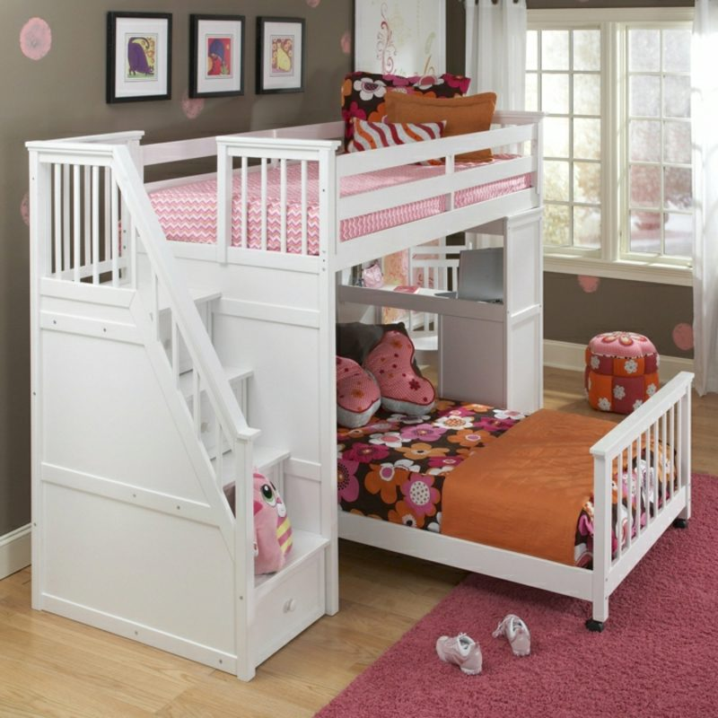 Hochbett mit Schreibtisch zwei Betten Möglichkeit