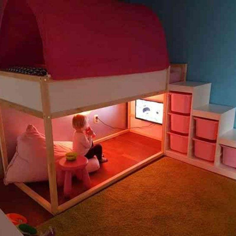 IKEA Kinderbett Spielecke Beleuchtung