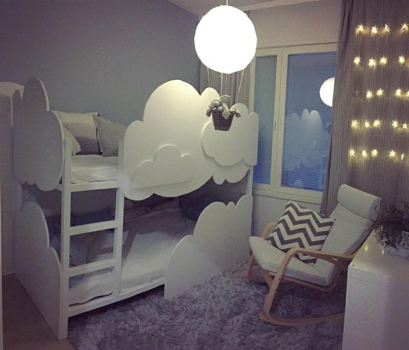 IKEA Kinderbett dkorieren Wolken