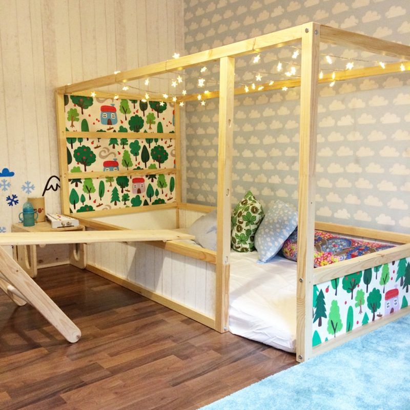 IKEA Kinderbett tapezieren eindrucksvoll