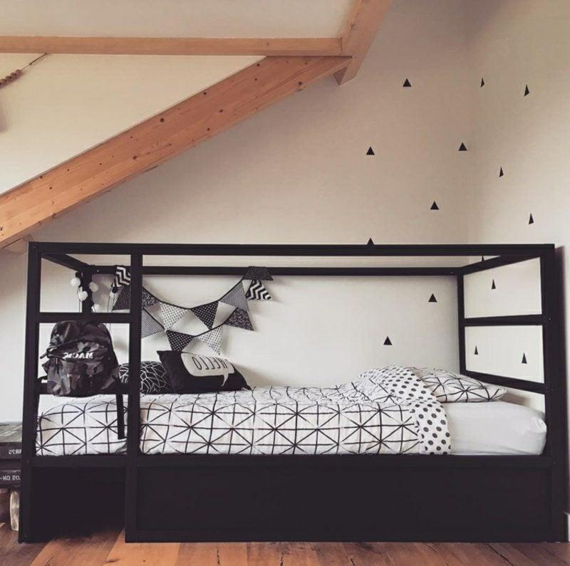 IKEA Kinderbett schwarz streichen elegant