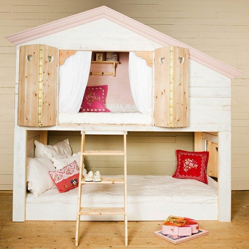 IKEA Kinderbett umgestalten Spielhaus herrlicher Look