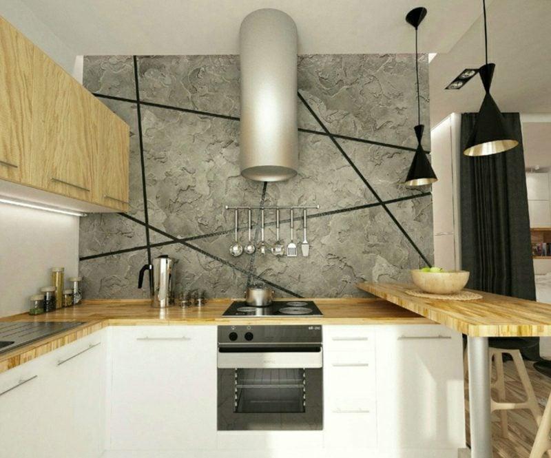 Betonwand mineralischer Wandputz Küche