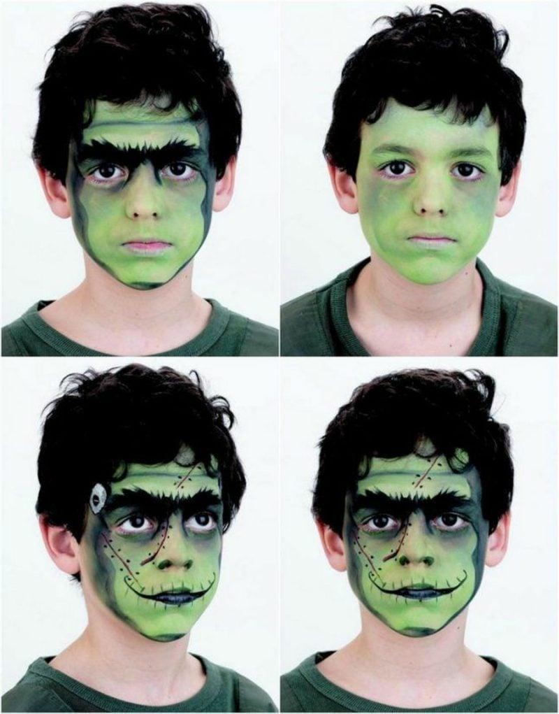 Halloween Schminken Kinder Frankenstein