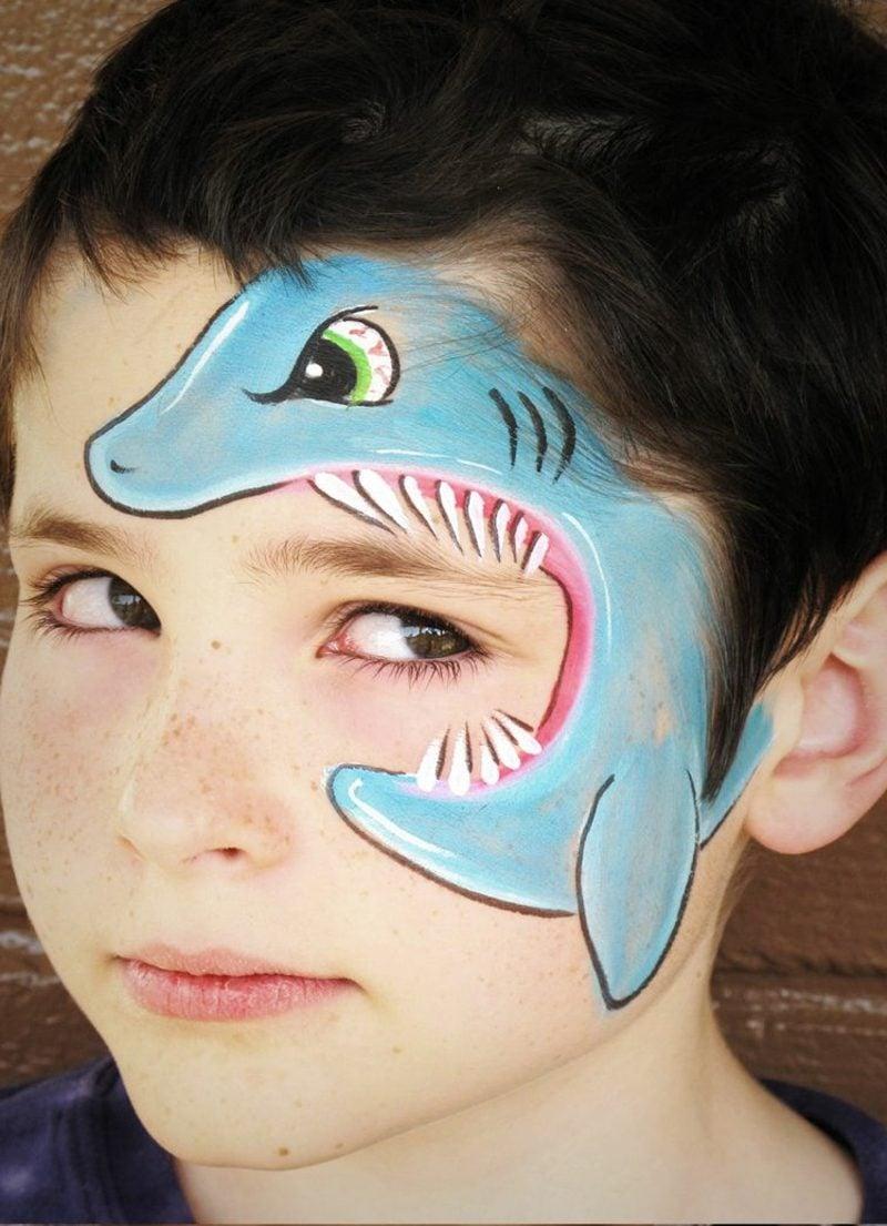 Halloween Schminken Kinder Hai