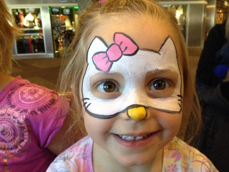Halloween Schminken Kinder Katze kleines Mädchen