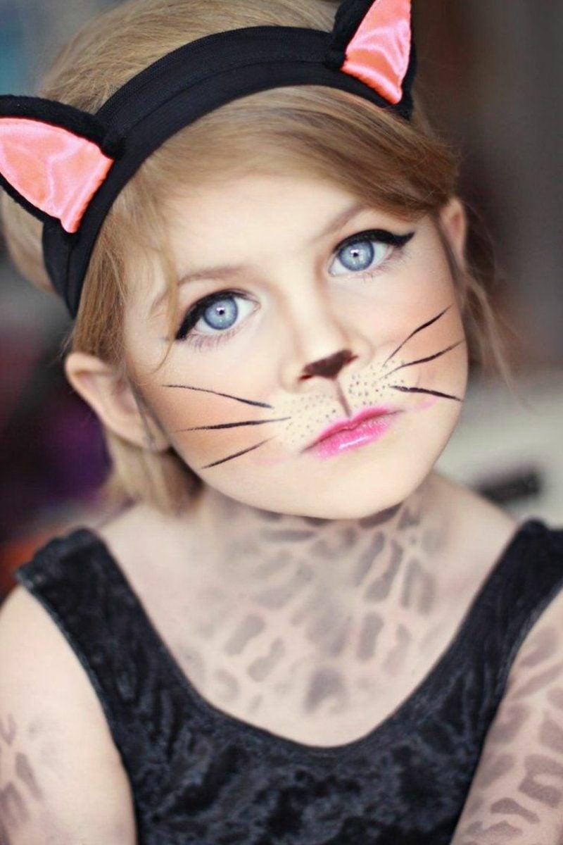 Halloween Schminken Kinder Katze herrlicher Look