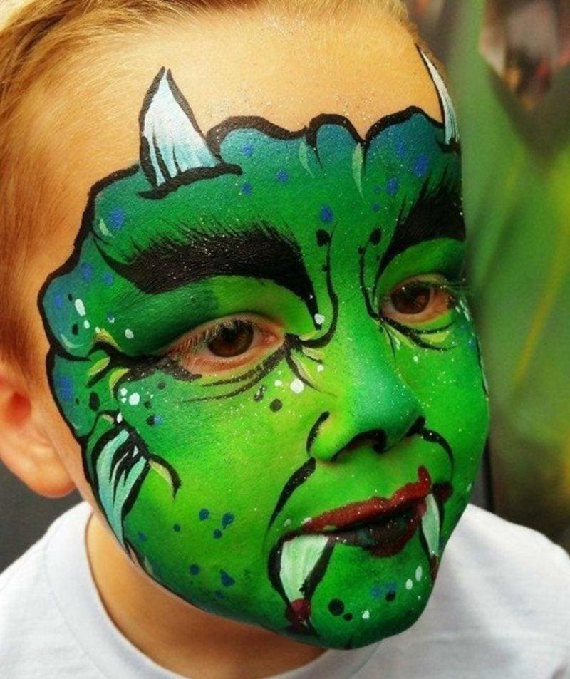 Kinderschminken Halloween Monster Hexe Schminken