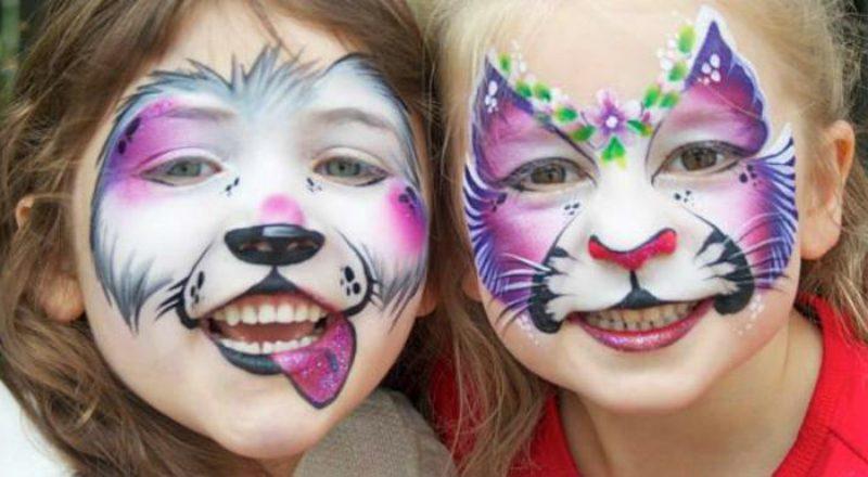 Halloween Schminken Kinder Tiermotive kunstvoll gemacht