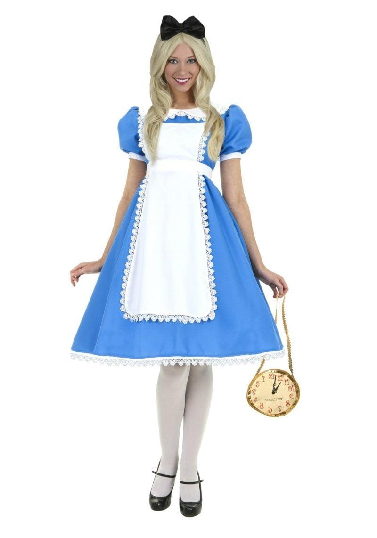 Alice im Wunderland Kostüm blaues Kleid Taschenuhr