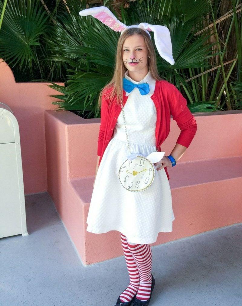 Alice im Wunderland Kostüm Kanninchen Strumpfhose gestreift Mädchen