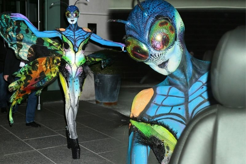 Halloween Kostüm Heidi Klum Schmetterling bunt originell