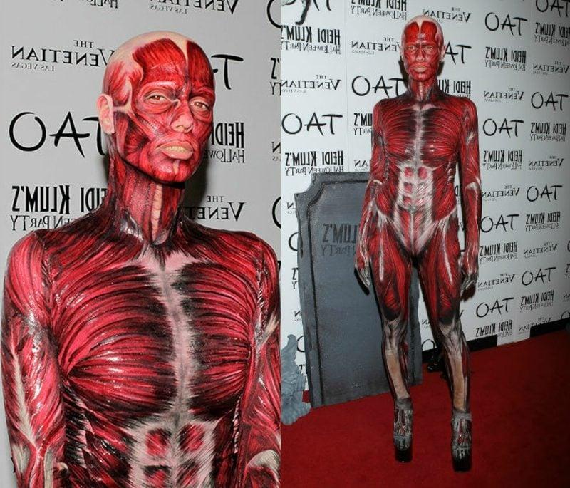 Halloween Kostüm Heidi Klum schaurig Menschenkörper