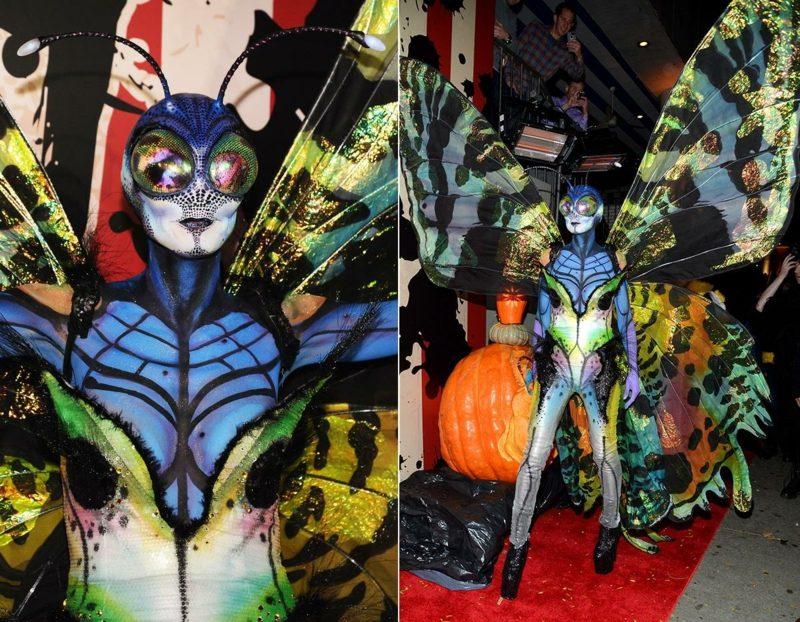 Halloween Kostüm Heidi Klum Schmetterling bunt