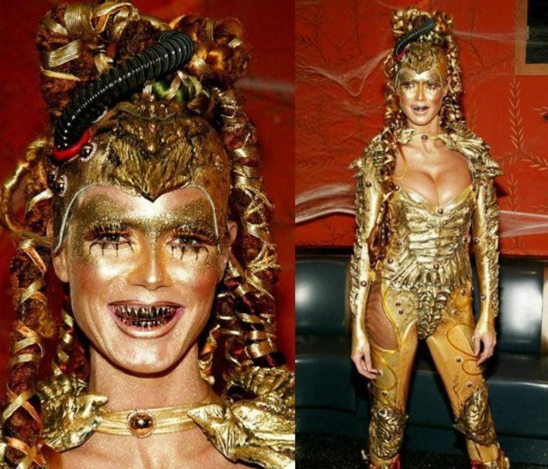 Halloween Kostüm Heidi Klum golden ausserirdisch