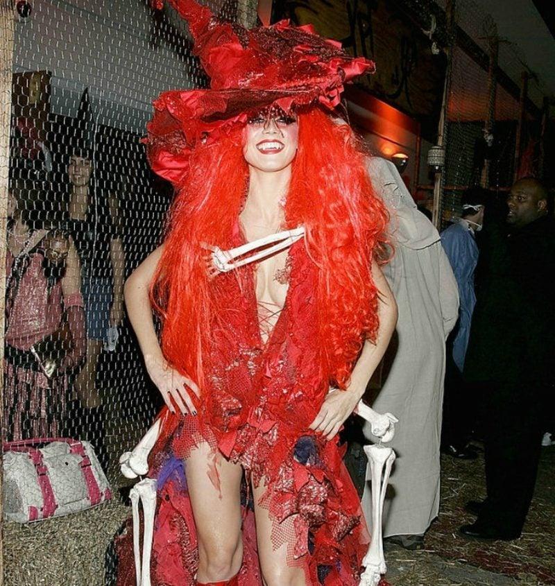 Halloween Kostüm Heidi Klum rote Hexe