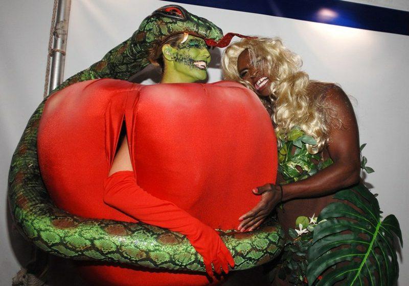 Halloween Kostüm Heidi Klum verbotene Frucht Schlange