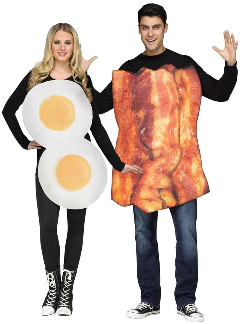 lustige Kostüme Eier und durchwachsener Speck