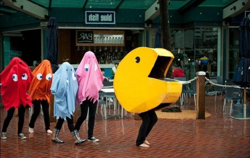 lustige Kostüme Pac Man und Geister
