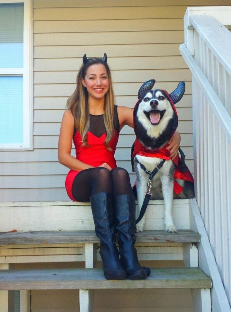 lustige Kostüme Teufel Hund und Mensch