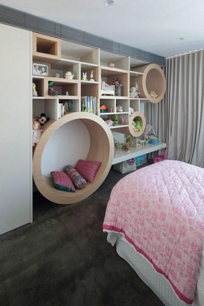 Kuschelecke Kinderzimmer zum Lesen regal integriert modern