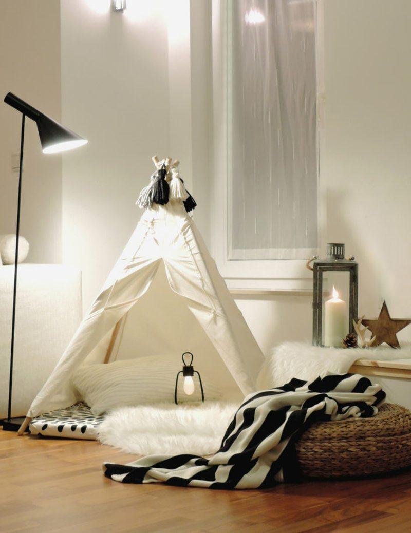 Kuschelecke Kinderzimmer Zelt Beleuchtung Stehlampe Laterne