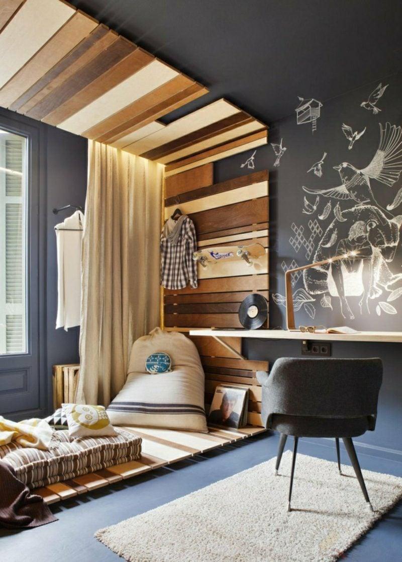 Kuschelecke Kinderzimmer moderner Look Holzverkleidung