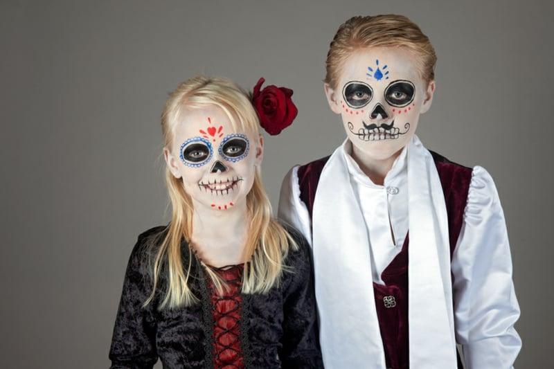 Halloween Schminken Kinder La Catrina Junge und Mädchen