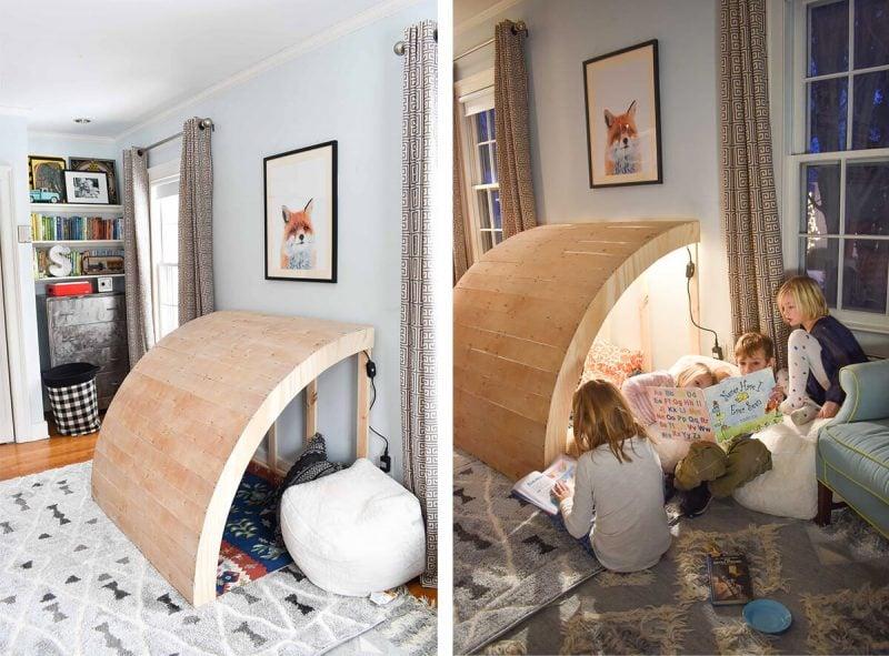 Kuschelecke Kinderzimmer mit Holzdach