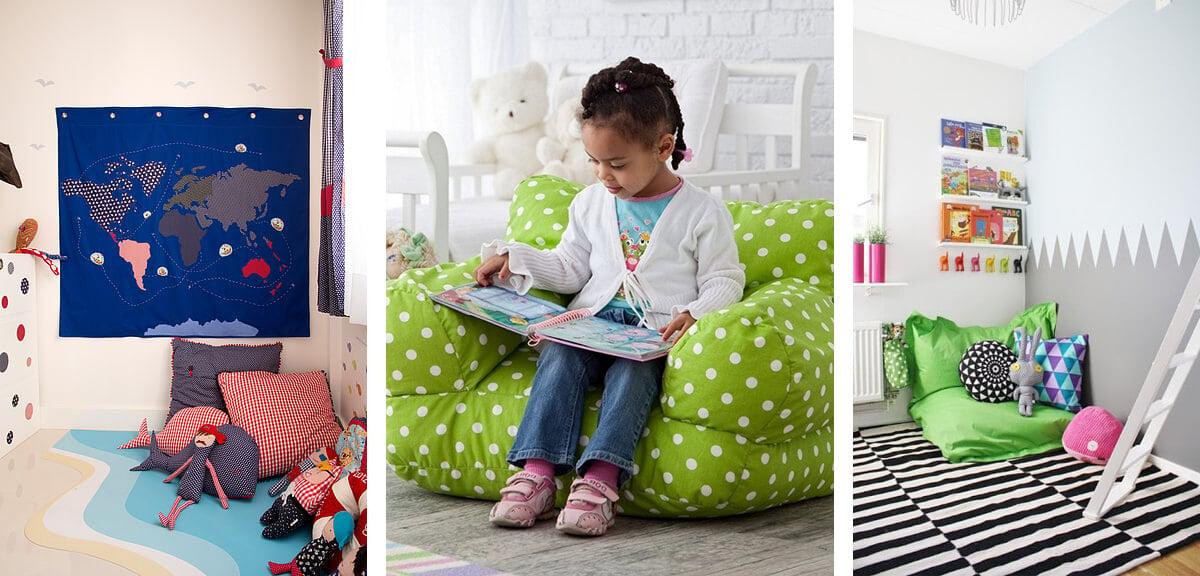 kuschelecke kinderzimmer einrichten inspirierende ideen. Black Bedroom Furniture Sets. Home Design Ideas