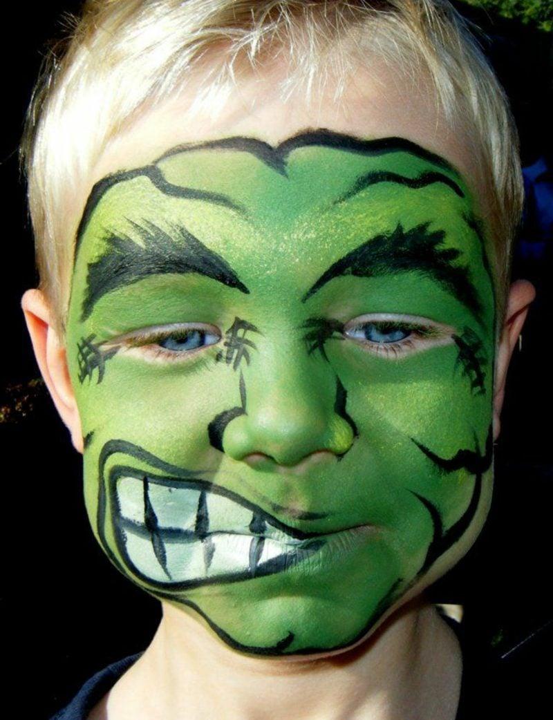 Halloween Schminken Kinder Monster kleine Junge origineller Look