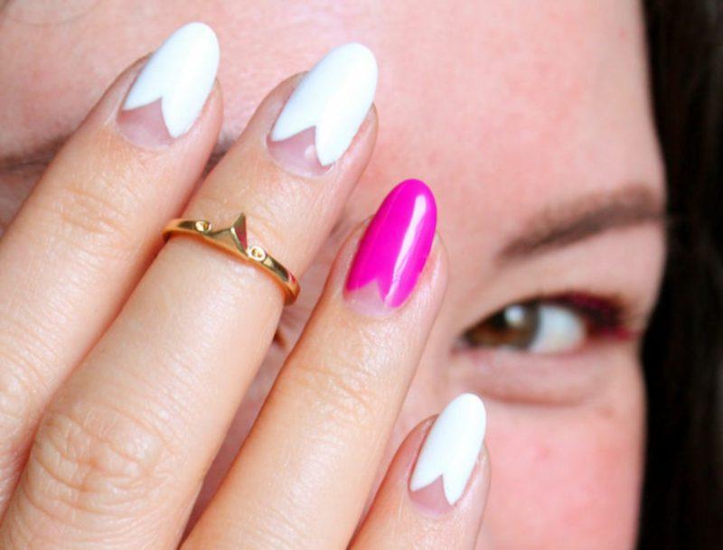 rosa Nägel Herzmuster Akzentfinger