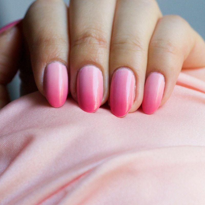Nageldesign schlicht Ombre Look rosa